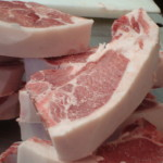 Red Wattle Loin Chops - in the cutting room